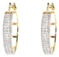 Jewelry Unlimited 10k,Yellow,Gold,Pave,Round,Diamond,Milgrain,19mm,Huggie,Hoops,Earrings,0.27,Ct