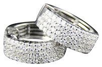 Jewelry Unlimited 10k,Womens,White,Gold,Round,Cut,Pave,Set,Diamond,4,Row,Hoop,Earrings,2.0,Ct