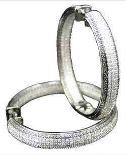 Jewelry Unlimited Womens,White,Gold,Finish,Blackwhite,Diamond,Pave,Hoop,Huggie,Earrings,1.25,Ct