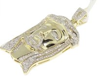 Jewelry Unlimited 10k,Yellow,Gold,Mens,Mini,Jesus,Face,Head,Diamond,Piece,Pendant,Charm,1.25,Ct
