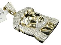 Jewelry Unlimited Mens,10k,Yellow,Gold,Real,2,Inch,Diamond,Jesus,Face,Piece,Pendant,Charm,1.60,Ct