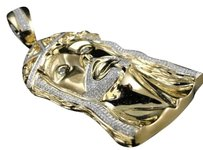 Jewelry Unlimited 10k,Yellow,Gold,Mens,3,Inch,Diamond,Jesus,Face,Piece,Pendant,Charm,2.5,Ct