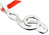 Jewelry Unlimited Brand,Mens,White,Gold,Finish,Diamond,Musical,Note,Pendant,Charm,.70,Ct