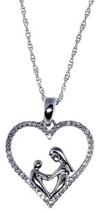 Jewelry Unlimited Ladies,Silver,Genuine,Round,Diamond,Heart,Mother,Child,Pendant,Necklace,0.15ct