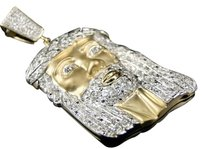 Jewelry Unlimited 10k,Yellow,Gold,Mens,1.75,In,White,Mini,Diamond,Jesus,Piece,Pendant,Charm,1.0,Ct
