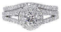Jewelry Unlimited 14k,White,Gold,Ladies,Round,Diamond,Solitaire,Halo,Bridal,Engagement,Ring,Set