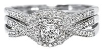 Jewelry Unlimited 10k,White,Gold,Ladies,Solitaire,Diamond,Twisted,Shank,Bridal,Engagement,Ring,Set
