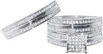 Jewelry Unlimited 10k,White,Gold,Round,Pave,Diamond,Engagement,Bridal,Wedding,Ring,Trio,Set,34ct