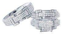 Jewelry Unlimited 14k,White,Gold,Round,Pave,Diamond,Engagement,Bridal,Wedding,Ring,Trio,Set,1.24ct