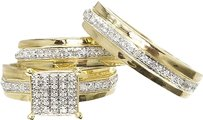Jewelry Unlimited 10k,Yellow,Gold,Mens,Ladies,Pave,Diamond,Trio,Wedding,Engagement,Ring,Set,0.50ct