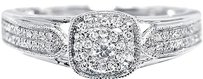 Jewelry Unlimited 10k,White,Gold,Ladies,Round,Diamond,Halo,Solitaire,Look,Engagement,Wedding,Ring