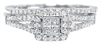 Jewelry Unlimited 14k,White,Gold,Ladies,Princess,Diamond,Halo,Bridal,Engagement,Ring,Set,12ct