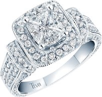 Jewelry Unlimited 14k,White,Gold,Cushion,Cut,Solitaire,Look,Diamond,Ttva,Engagement,Wedding,Ring