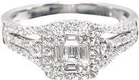 Jewelry Unlimited 18k,White,Gold,Womens,Emerald,Diamond,Designer,Engagement,Wedding,Ring,0.77ct