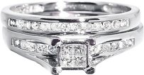 Jewelry Unlimited 10k,White,Gold,Ladies,Princess,Diamond,Engagement,Wedding,Bridal,Ring,Set,0.50ct