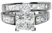 Jewelry Unlimited 14k,White,Gold,Ladies,2.0,Ct,Princess,Diamond,Engagement,Wedding,Bridal,Ring,Set