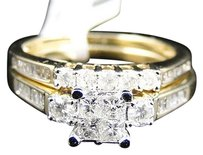 Jewelry Unlimited 10k,Yellow,Gold,Princess,Cut,Engagement,Bridal,Wedding,Diamond,Ring,Set,0.90,Ct