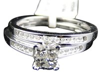 Jewelry Unlimited 10k,White,Gold,Princess,Cut,Engagement,Bridal,Wedding,Diamond,Ring,Set,0.40,Ct