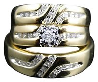 Jewelry Unlimited 10k,Yellow,Gold,Round,Cut,Diamond,Engagement,Bridal,Wedding,Ring,Trio,Set,.28,Ct
