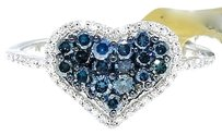 Jewelry Unlimited Ladies,10k,White,Gold,Round,Cut,Blue,Diamond,Heart,Engagement,Fashion,Ring