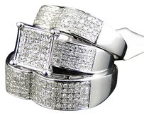 Jewelry Unlimited 14k,White,Gold,Round,Cut,Diamond,Engagement,Bridal,Wedding,Ring,Trio,Set,1.53,Ct
