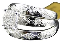 Jewelry Unlimited 10k,White,Gold,Round,Cut,Diamond,Engagement,Bridal,Wedding,Ring,Trio,Set,0.40,Ct