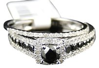 Jewelry Unlimited 14k,White,Gold,Ladies,Bridal,Engagement,Diamond,Black,Solitaire,Ring,Set,1.0,Ct