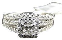 Jewelry Unlimited 14k,White,Gold,Princess,Cut,Engagement,Bridal,Solitaire,Diamond,Ring,Set,1.38,Ct