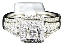 Jewelry Unlimited 14k,Ladies,Princess,Diamond,Solitaire,Wedding,Engagement,Duo,Ring,Set,12,Ct