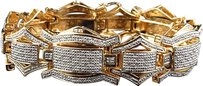 Jewelry Unlimited Mens,Pave,25,Mm,Yellow,Gold,Finish,Round,Cut,Genuine,Diamond,Bracelet,3.5ct,8.5