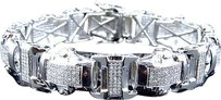 Jewelry Unlimited Mens,Genuine,Diamond,3d,Pave,Style,Bracelet,In,White,Gold,Finish,15mm,4.5ct