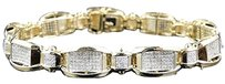 Jewelry Unlimited Mens,Pave,Set,10k,Yellow,Gold,Round,Cut,Genuine,8.5,Inch,Diamond,Bracelet,4,Ct