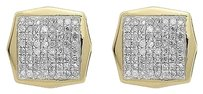 Jewelry Unlimited 10k,Yellow,Gold,Mens,Ladies,Pave,Round,Diamond,10mm,Octagon,Stud,Earrings,.50ct