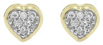 Jewelry Unlimited 10k,Yellow,Gold,Round,Pave,Diamond,4mm,Mini,Heart,Stud,Earrings,0.10,Ct