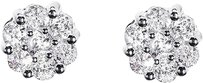 Jewelry Unlimited White,Gold,Finish,Mens,Ladies,Round,Diamond,6mm,Flower,Cluster,Earrings,0.50ct