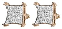Jewelry Unlimited 10k,Rose,Gold,Mens,Ladies,13mm,Round,Pave,Diamond,Kite,Stud,Earrings,0.75,Ct