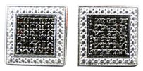 Jewelry Unlimited Mens,Or,Ladies,White,Gold,Finish,Black,Round,Diamond,Square,Studs,Earrings,1,Ct