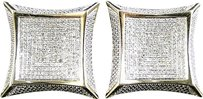Jewelry Unlimited Mens,Ladies,10k,Yellow,Gold,Diamond,Xl,Kite,Pave,Shape,Stud,Earrings,25mm,1.75