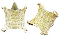 Jewelry Unlimited Mens,Ladies,10k,Yellow,Gold,Canary,Diamond,3d,Kite,Pave,Shape,Stud,Earrings
