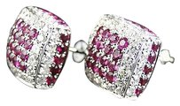 Jewelry Unlimited Mens,Ladies,10k,White,Gold,Diamond,And,Ruby,Square,Pillow,Stud,Earrings,6,Ct