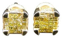 Jewelry Unlimited Yellow,Gold,Princess,Cut,Ice,Cube,Canary,Diamond,Invisible,Set,Stud,Earrings