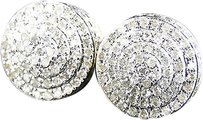 Jewelry Unlimited Mens,Ladies,10k,Yellow,Gold,Diamond,Dome,Pave,Round,Stud,Earrings,10mm,1.0,Ct
