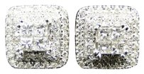 Jewelry Unlimited 14k,White,Gold,Princess,Cut,Diamond,Invisible,Set,Square,Stud,Earrings,1.04,Ct
