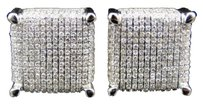 Jewelry Unlimited 10k,White,Gold,Round,Cut,Domed,White,Diamond,Xl,Square,Stud,Earring,14,Mm,3.25ct