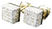 Jewelry Unlimited Yellow,Gold,Mens,Or,Ladies,3d,Cube,6mm,Diamond,Stud,Earrings,With,Screwbacks
