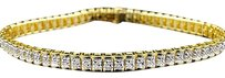 Jewelry Unlimited Ladies,Yellow,Gold,Finish,Round,Cut,Real,Diamond,Bangle,Tennis,Bracelet,8,Inch