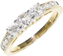 Jewelry Unlimited 14k,Yellow,Gold,Ladies,Round,Diamond,3,Stone,Engagement,Anniversary,Ring,.90,Ct