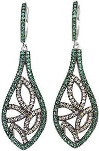 Jewels by Jacob 925 Sterling Silver Micro Pave Green Cz Earrings - Fncdl06