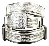 Jewelry Unlimited 10k,Mens,Ladies,White,Gold,Diamond,Engagement,Bridal,Wedding,Ring,Trio,Set,.40ct