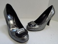 Jill Stuart Italy Pewter Snake Print Leather Silver Pumps